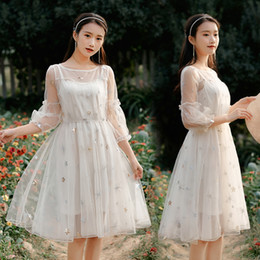 Wholesale retro runway dress resale online - Women Midi Embroidery Mesh Dress Summer Runway Vintage Korean Casual Party Night Dress Elegant Retro Beach Vacation Dresses