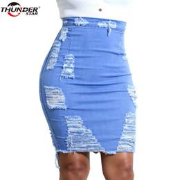 daec5386f Ripped Denim Skirt Women Summer Light Blue Casual High Waist Short Jeans  Skirt Hole Sexy Pencil Skirts Womens Jupe Faldas Y19043002