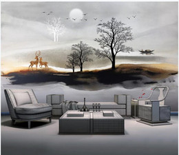 Discount modern chinese wall decorations - Custom photo wallpaper for walls 3 d mural New Chinese Ink Artistic Conception Landscape Tree living room Animal Wall De