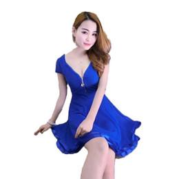 $enCountryForm.capitalKeyWord Australia - Nightclub Dress Europe Us Sexy Girls V-neck Zippers Mini Dress Black Blue Solid Color Patchwork Lace Loose Free Size Pleated Mermaid Dresses