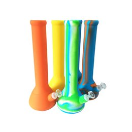 "$enCountryForm.capitalKeyWord Australia - 13.3"" Silicone Cylinder Beaker Hookah Smoke Water Pipe Bong Bubbler With Stem And Glass Bowl 5 Pieces"
