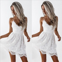 Hot Sexy White Dresses Australia - 2019 summer new hot ladies strap lace dress fashion sexy V-neck black white dress dress wholesale and retail