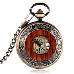 Discount steampunk circle glasses - High Quality Special Design Copper Hand-winding Stylish Steampunk Mechanical Pocket Watch Men Carving Wood Circle Fashio