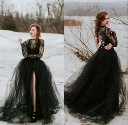 sheer bridal top NZ - Sexy Sheer Black Lace Tulle Gothic Wedding Dress With Long Sleeves Top Slit Skirt Women Non White Bridal Gown Wedding Dress