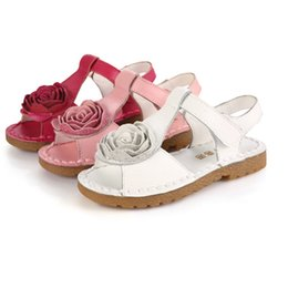Discount multi color red bottom shoes Genuine leather sandals princess flower soft bottom shoes school girls summer red white pink kids flat sandal