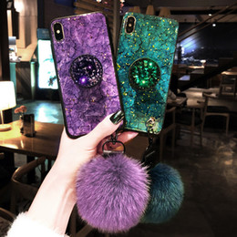 epoxy case 2019 - Bling Marble Glitter Epoxy Bracket Fur Ball Lanyard Case for iphone XS MAX XR X 6S 7G 8PLUS Samsung S10 PLUS S10e S9 S8