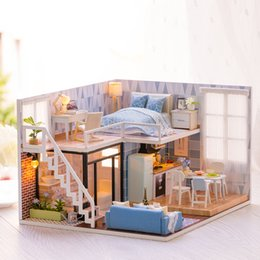 Model Building Diy 3d Light Toys For Children Furniture Dust Cover Wooden Miniature House Because I Met You Dollhouse Christmas Birthday M026 Elegant In Style