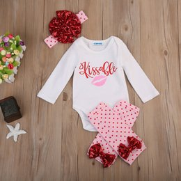 baby girl white tops 2019 - 4Pcs Newborn Baby Girl Kissable Tops Romper Pants Outfits Clothes Set cheap baby girl white tops