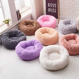 extra small dog house Australia - Round Plush Cat Dogs Bed House Soft Long Plush Cat Bed Round Pet Dog For Small Cats Nest Winter Warm Sleeping Puppy Mat