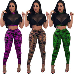 fdab2c6c46 Womens fashion club suit Gauze Crop Top Leggings Outfits See Through Mesh  Short Pullover+Slim Pants two piece set sexy club wear New C53001