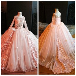 $enCountryForm.capitalKeyWord Australia - 2019 O-Neck Long Sleeves Lace Appliques Tulle Sweep Train Pageant Flower Girl Dress Lovely Vintage Girl Birthday Gown Flower Girl Dress