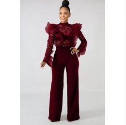 2d84520ff86a AfricAn print jumpsuit online shopping - 2019 New fashion African Flounce  lace see through jumpsuit