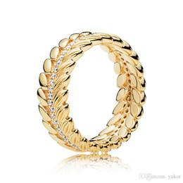 $enCountryForm.capitalKeyWord Australia - arrival 18K Yellow Gold Shine grain RING with Original Box for Pandora Real 925 Silver Wedding Gift Rings Set
