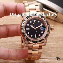 $enCountryForm.capitalKeyWord Australia - Top Luxury Swiss Automatic Mechanical Watch Sapphire Crystal Swarovski square diamond Bezel Rose Gold Case Steel Bracelet Mens Watch