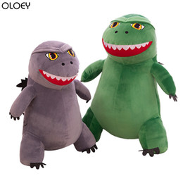 Discount toys godzilla - OLOEY 2019 New Cartoon Plush Toy Godzilla Dinosaur Doll Q Version of The Little Monster Cartoon Children's Doll Pil