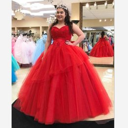 Discount modern skirts for girls - Plus Size Red Sweetheart Prom Quinceanera Dresses Cheap Ball Gowns 2019 Lace Applique Beaded Tiered Skirt Tulle Sweet 16