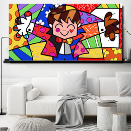 pop canvas prints Australia - Romero Grande Big Hug Pop Art By Colorful Embrace Art Canvas Poster Painting Wall Picture Print Anime Home Bedroom Decoration