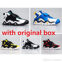 Sale baSketball ShoeS online shopping - Cheap air barrage mid more Uptempo mens basketball shoes retro for sale lebron KD Scottie Pippen sneakers kids with original box