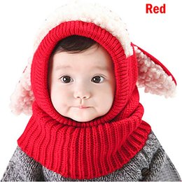 puppy baby hats 2019 - Drop shipping HEFLASHOR Winter Baby Unisex-Warm Puppy Cloak Scarf Shawl Infant Skull Caps Smart Hat Siamese wool discoun