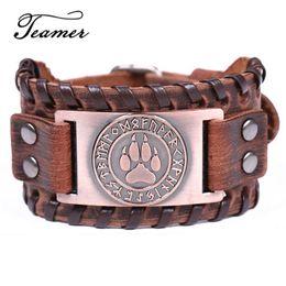 $enCountryForm.capitalKeyWord NZ - Cheap Charm Bracelets Teamer 12 Styles Wolf Paw Rune Charm Bracelets Men Slavic Amulet Jewelry Vintage Antique Silver Leather Wide Bracelet