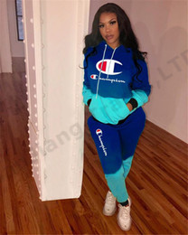 Wholesale women tracksuits hoodie for sale – designer Women Champions Letter Hoodie Pants Tracksuit Contrast Color Sweatsuit Hooded T shirt Pullover Outfit Sportswear Suits Cloth set A3161
