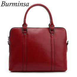 branded ladies office leather bags 2019 - Burminsa Brand Real Genuine Leather Briefcase For Women Designer Handbag 14inch Laptop Bag Office Ladies Shoulder Messen