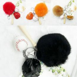 $enCountryForm.capitalKeyWord Australia - Free DHL Fur Ball Keychians Four-piece Mini Baseball Glove Wooden Bat Keychain Sports Key Holder Car Key Ring Unisex Gift 4 Colors G632Q F