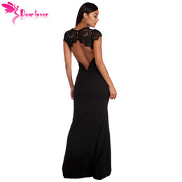 black kimono maxi dress NZ - Dear Lover Robe De Soiree Longue Maxi Summer Short Sleeve Black Lace Splice Open Back Party Gown Dress Vestido De Festa Lc610209 Y19050905