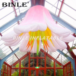 inflatable flowers Canada - Professional 2m Artificial giant inflatable flowers with led lights popular hanging flowers wedding decorations india for sale
