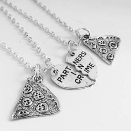 $enCountryForm.capitalKeyWord NZ - Partners in Crime Letters Pizza Heart Necklaces Pendant Friendship Statement BFF Choker Couple Necklace Best Friend Jewelry Fashion Gift