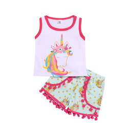 $enCountryForm.capitalKeyWord Australia - 2019 new Ins Summer Unicorn Baby Suit Infant Outfits baby girl clothes Girl Suit Vest+tassels Shorts baby girl designer clothes A5255