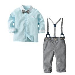 boy tuxedos UK - Cross-border children's clothing boy European and American long-sleeved color shirt bib green tuxedo gentleman suit outing service