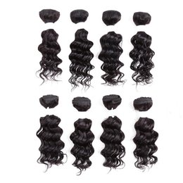 """Discount short kinky human hair weaves - Hot selling fashion short human hair extensions 8"""" 8PCS Lot pure black deep wave kinky curly hair weaves for Afro"""