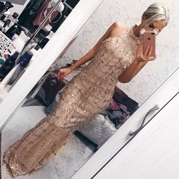 floral maxi dresses weddings 2020 - Elegant Fringe Sequin Dress 3D Sequins Wedding Bridal Dress for Woman High Quality Gold Shining Cocktail Party Dress Gow