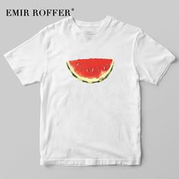 Discount korean fashion tee women - EMIR ROFFER Fruit Watermelon Print T-shirt Female Summer Korean Fashion Harajuku Cute Kawaii T Shirt Women Graphic Tee T