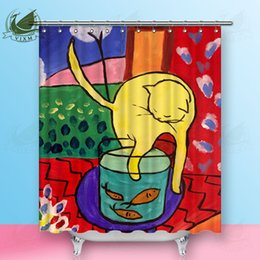 $enCountryForm.capitalKeyWord Australia - Vixm Nordic Style Abstract Painting Cat Matisse Famous Portrait Portrait Shower Curtains Waterproof Polyester Fabric Curtains For Home Decor