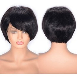 peruvian straight short wig NZ - Straight Hair Wig Peruvian Human Hair Lace Front Wig Swiss Lace Glueless Short Virgin Wigs with Baby Hair
