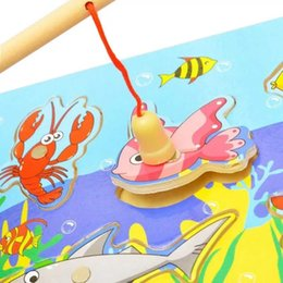 Toddlers Puzzles Australia - new fashion Wooden Magnetic Fishing Game Puzzle Toys Toddlers Kids Children Educational Fish Parent-child Interaction Toy