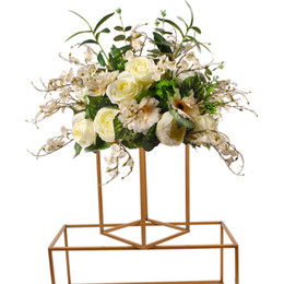 wedding table cloths wholesale Australia - Modern 2020 Gold Flower Vase Floor Vases Column Stand Metal Road Lead Wedding Table Centerpiece Flower Rack Event Party Decoration