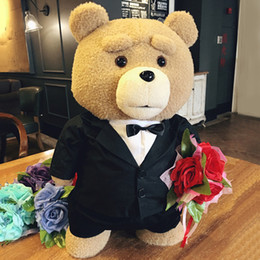 Wholesale ted movie for sale – custom 45cm Styles Movie She Teddy Bear Plush Toys in Suit Boy Ted Soft Stuffed Animals Dolls Gift Present Good Qulity Bride in Dress