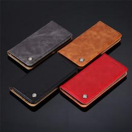 Casos de telefone celular carteira de couro premium para iphone xs samsung galaxy s10 mais a30 a50 huawei p30 pro retro slot para cartão de aletas em Promoção