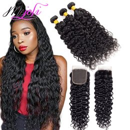 cheap wavy human hair weave UK - 9A Mink Indian Virgin Water Wave 3 Bundles With 4x4 Lace Closure Frontal Wet and Wavy 8-28inch Virgin Human Hair Weave Cheap Hair