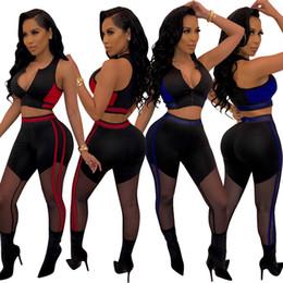 $enCountryForm.capitalKeyWord Australia - 2019 Women Patchwork Zipper Tracksuit Active Two Piece Pants Set Outfits Ribbon Sleeveless Vest Crop Top Mesh Pant Suits Red Blue