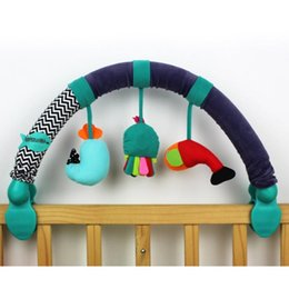 cot toys for babies Canada - Baby Stroller Bed Crib Hanging Toys For Tots Cots Rattles Seat Cute Plush Stroller Mobile Gifts Sea Animal Rattles