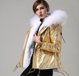 Dog Zipper NZ - 2019 short style white rabbit fur lining gold mini parkas women Cold resistance parkas with white raccoon fur ykk zipper
