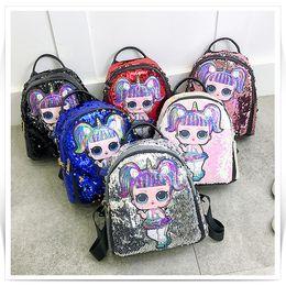 $enCountryForm.capitalKeyWord Australia - 6 colors Women Sequined shoulder bag Girl Cartoon LOL Dolls backpack School Bags Children Embroidery Anime back bag DHL JY400