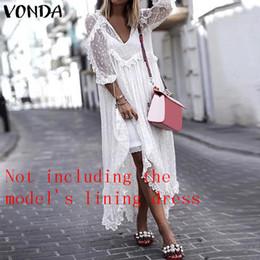 $enCountryForm.capitalKeyWord Australia - Vonda Holiday Summer White Lace 2019 Women Sexy V-neck Dot Hollow Asymmetrical Hem Dress Plus Size Cardigan Vestidos 5xl J190619