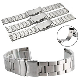 silver safety NZ - Cymii Universal 20MM 22MM 24MM Silver Stainless Steel Watch Bands Strap Wrist Bracelet With Buckle Replacement Metal Wristbands