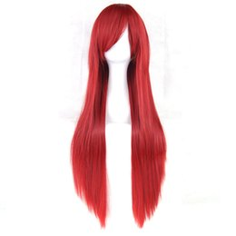 Long Light bLue cospLay wig online shopping - Long Straight Women Party Nature Red Black Hairpiece Heat Resistant Synthetic Hair Cosplay Wig Colors cm