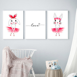 $enCountryForm.capitalKeyWord NZ - 3pcs Pink Cartoon Rabbit Nursery Girl Wall Pictures Poster & Print Cute Animal Love Quotes Canvas Painting for Baby Room Modern Home Decor K